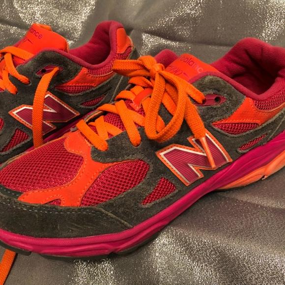 990 Pink And Orange Running Sneakers
